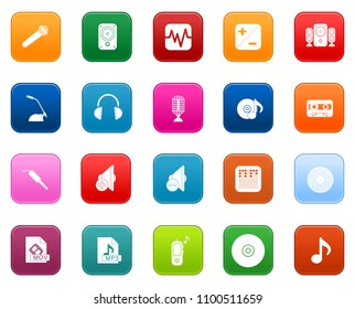 vector sound music Icons set, radio music studio instruments and equipment
