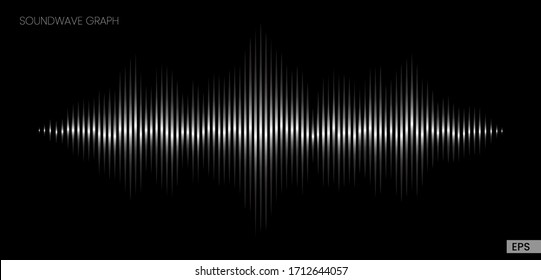Vector sound wave. Abstract music pulse background. Audio track wave graph of frequency and spectrum isolated on black background.