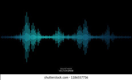 Vector sound wave in blue green color light dynamic flowing on black background in concept of music, sound, science or technology.
