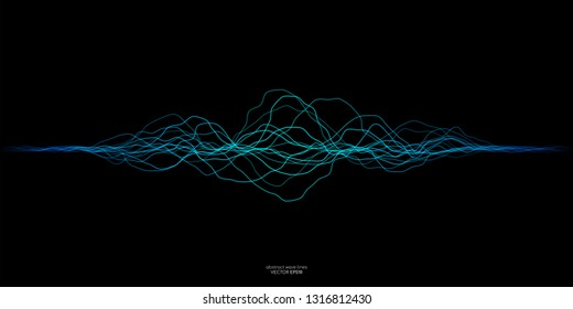 Vector sound wave lines dynamic in blue green color light flowing on black background for concept of music, sound, technology, ai