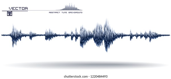 Vector sound wave. Music waves oscillating. Synthesis and electronic sound hearing. Abstract technology for creating tunes and ringtones.