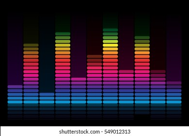 Vector Sound Waveforms colorful.