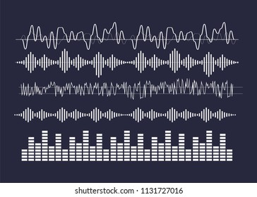 Vector sound waves. Audio equalizer technology vector