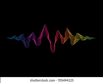 Vector sound waves dynamic colorful light flow on background for music concept background.