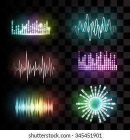 Vector sound waves set on transparent background. Audio equalizer technology, pulse musical. Vector illustration.