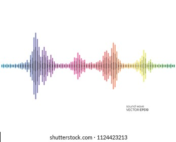 Vector sound waves strip bar rainbow color isolated on white background for music concept background.