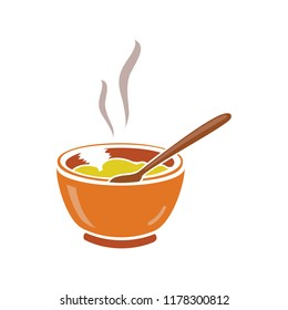 vector soup bowl illustration - restaurant meal plate