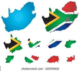 Vector South Africa map with flag