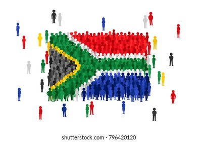 Vector South Africa state flag formed by crowd of cartoon people