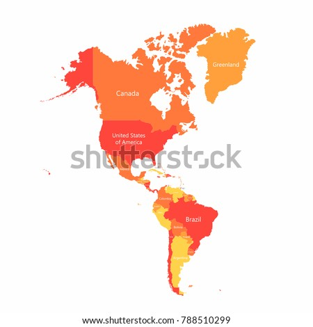 Vector South America North America Map Stock Vector Royalty Free