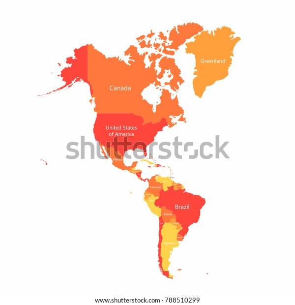 Vector Sydamerika Og Nordamerika Kort Med Lagervektor Royaltyfri