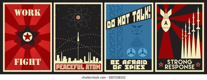 Vector Soviet Propaganda Posters. Spies, Atomic Bomb, Space Flight, Calls