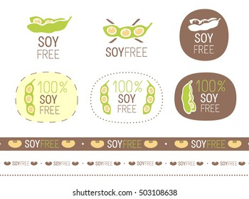 vector soy free sign set