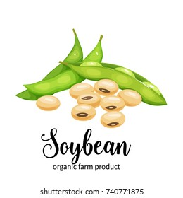 Vector soybean in cartoon style for template label, packing and emblem farmer market design.