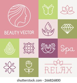 Vector spa and cosmetics logo design templates in trendy linear style - flowers, leaves and icons