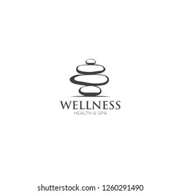 Vector Spa Logo template. Spa stones hand drawn illustration for spa, yoga logo design.
