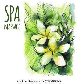 vector Spa massage illustration, card, banner, with white-yellow plumeria, watercolor sketch