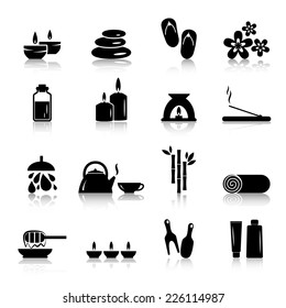 Vector spa and relaxation icons isolated on white