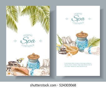 Vector spa treatment accessories vertical banners with palm leaves, shell and massage bags. Design for natural cosmetics, store, spa and beauty salon, organic health care products.With place for text