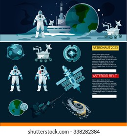 Vector Space and Astronauts vector set in a flat  detailed style