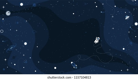 Vector space background with copy space. Cute flat style template with Astronaut, Spaceship, Rocket, Moon, Black Hole, Stars in Outer space.