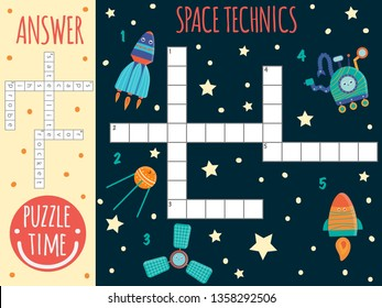 Vector space crossword. Bright and colorful quiz for children. Puzzle activity with space technics, satellite,spaceship,probe,rover,rocket