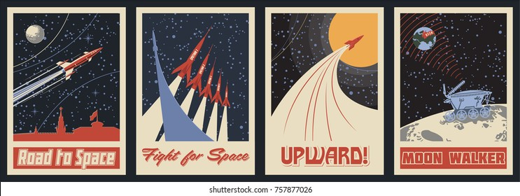 Vector Space Posters. Stylization under the Retro Soviet Space Propaganda