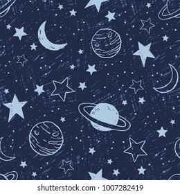 Vector space seamless pattern with planets and stars. Night sky hand drawn doodle background