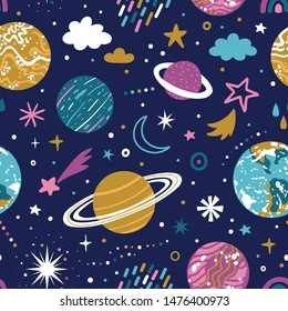 Vector space seamless pattern with planets and stars. Bright repeated texture with cosmic elements. Cute childish design for kids fabric and wrapping paper.