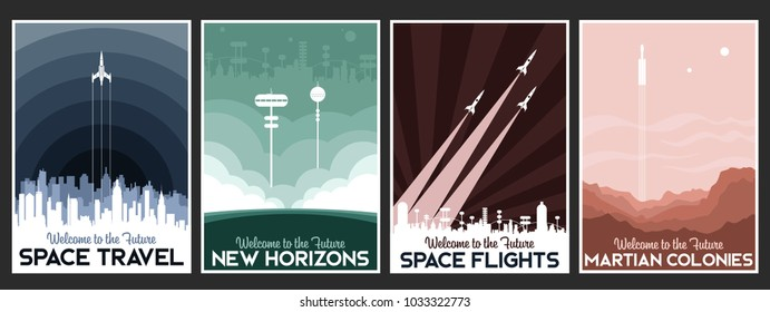 Vector Space Travel Poster Set. Stylization under the Retro Space Propaganda