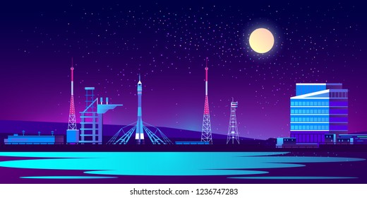 Vector spaceport at night with rocket, control room and radio tower. Science base in ultra violet colors on full moon background. Station for cosmos exploration with transport. Technology concept.