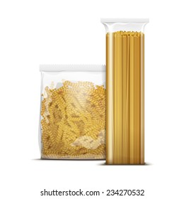 Vector Spaghetti and Fusilli Spiral Pasta Packaging Template Isolated on White Background