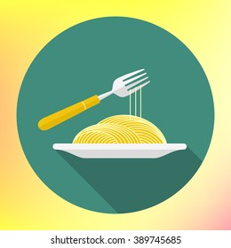 vector spaghetti on fork flat vector icon. Italian pasta macaroni. Icon of bowl with noodle and fork. noodle on the dish and twirling on a fork