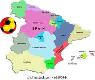 Vector Spain football map illustration