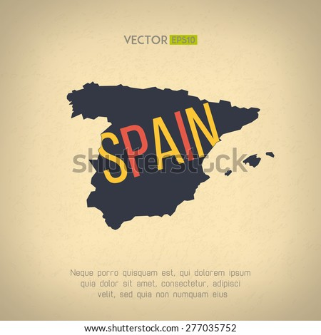 Vector Spain Map Vintage Design Spanish Stock Vector (Royalty Free