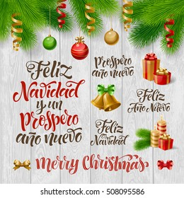 "Vector Spanish Merry Christmas, Happy New Year text. ""Feliz Navidad y un Prospero Ano Nuevo"" lettering for invitation, greeting card, prints. Hand drawn holidays calligraphy, fir branch, decorations"