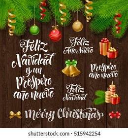 """Vector Spanish Merry Christmas and Happy New Year text. """"Feliz Navidad y un Prospero Ano Nuevo"""" lettering for invitation, greeting card, prints. Holidays calligraphy, fir branch and decorations"""