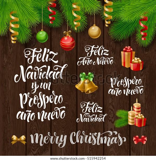 Feliz Navidad Joyeux Noel 2019.Image Vectorielle De Stock De Image Vectorielle Texte