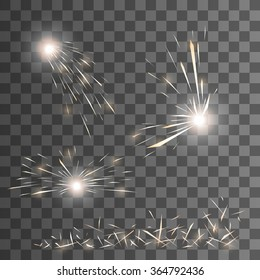 Vector spark effect. Set of vector sparks. Transparent background. Glow special effect. EPS 10.