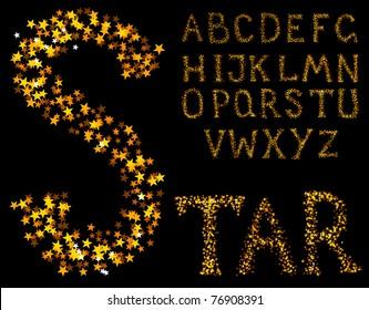 Vector sparkle alphabet on a black background