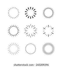 Vector Sparkles and Stars Set. Flash Design Elements