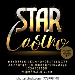 Vector sparkling banner Star Casino. Golden set of shiny Alphabet Letters, Numbers and Symbols. Chic font with Graphic style