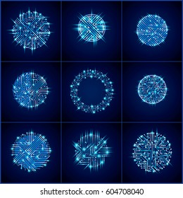 Vector sparkling circuit board circles, digital technologies abstractions. Blue shine computer microprocessor schemes with arrows, neon futuristic design collection.