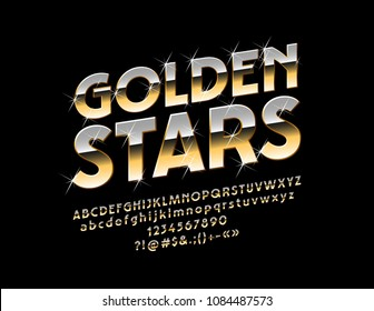 Vector sparkling sign Golden Stars with Font. Luxury glossy Alphabet Letters, Numbers and Punctuation Symbols