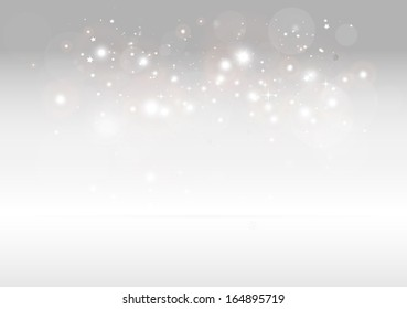 Vector sparks scene for design templates and backgrounds on reflective surface - Vector 3D sparkling background illustration