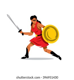 Vector Spartan Warrior Cartoon Illustration. Gladiator in a helmet jumping with shield and a spear. Branding Identity Corporate unusual Logo design template Isolated on a white background