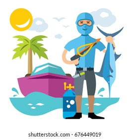 Vector Spearfisher with large Marlin fish. Spearfishing. Flat style colorful Cartoon illustration.