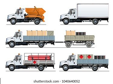 Vector spec trucks set template isolated on white. Available EPS-10 separated by groups and layers with transparency effects