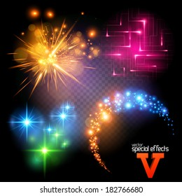 Vector Special Effects Series 5. Each object grouped and layered.