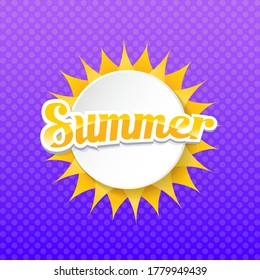 vector special offer summer label design template . Summer sale banner or badge with sun and text on summer violet background